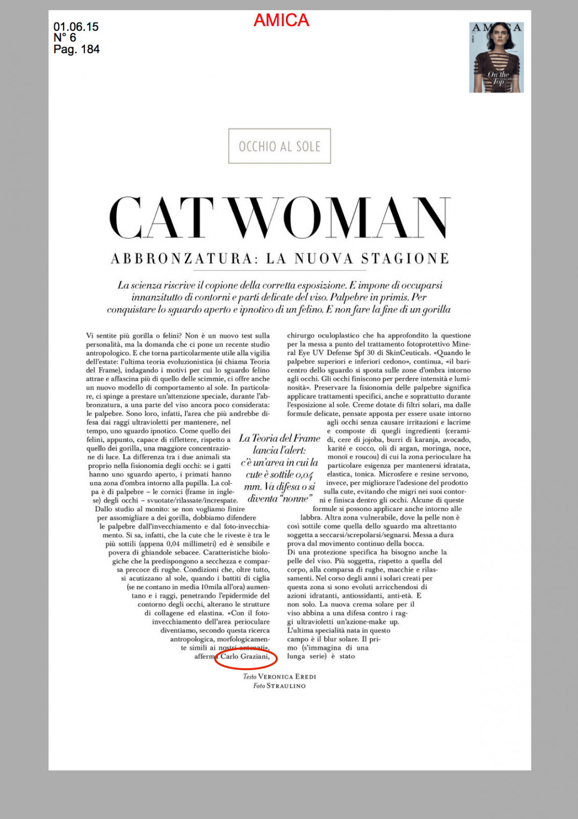 articolo del Dr Graziani per la rivista Amica sul frame concept